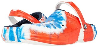 Crocs Classic Lined Tie-Dye Clog (Navy/Red/White) Shoes