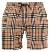Burberry Grafton Checked Swim Shorts - Mens - Beige Multi