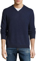 Neiman Marcus Cashmere V-Neck Pullover Sweater, Royal Navy/Onyx