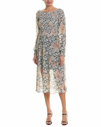 AVEC LES FILLES Women's Long Sleeve Floral Dress with Smocking
