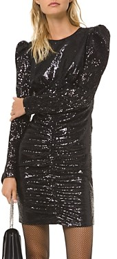 MICHAEL Michael Kors Ruched Sequined Mini Dress