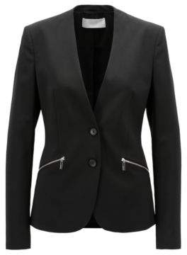 BOSS Hugo Italian-made collarless blazer in stretch virgin wool 8 Black