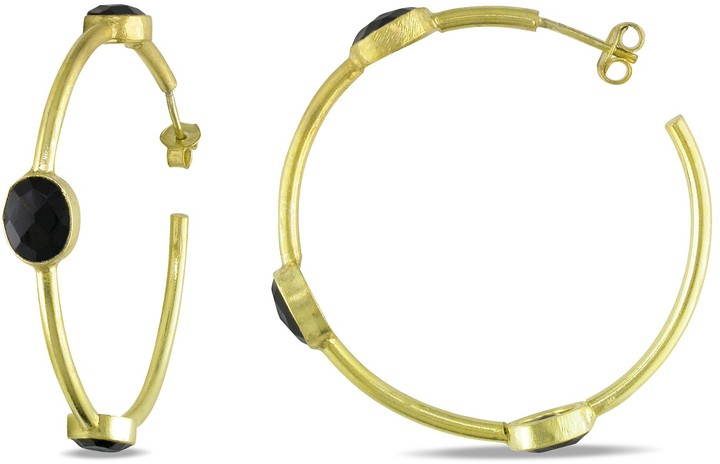 Ice.com 10 Carat Black Onyx 22K Yellow Gold Plated Sterling Silver Hoop Earrings