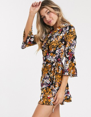 Outrageous Fortune ruffle wrap dress with fluted sleeve in floral print