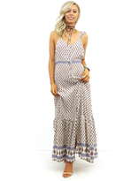 West Coast Wardrobe Eternal Sun Sleeveless Button Down Maxi in Ivory/Orange