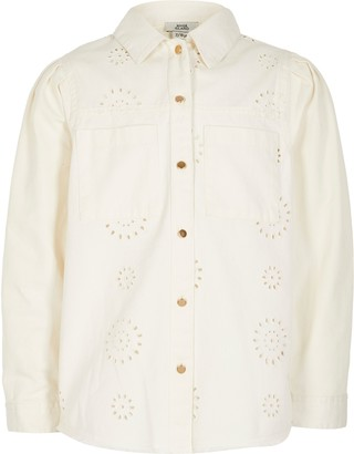 River Island Girls White broderie long sleeve shacket