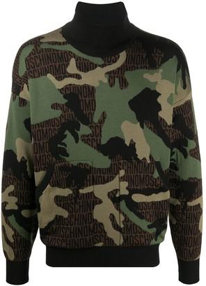 Moschino Logo Camouflage Intarsia Jumper