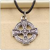 Nobrand No brand Fashion Tibetan Silver Pendant cross Necklace Choker Charm Black Leather Cord Handmade Jewlery
