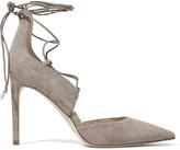 Sam Edelman Helaine leather-trimmed lace-up suede pumps