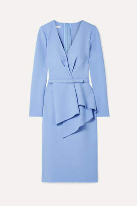 Oscar de la Renta Draped Stretch Wool-blend Dress - Sky blue