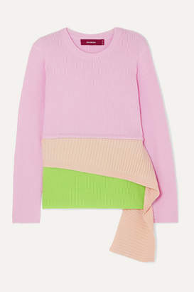 Sies Marjan Sae Layered Ribbed Wool And Cashmere-blend Sweater - Pastel pink