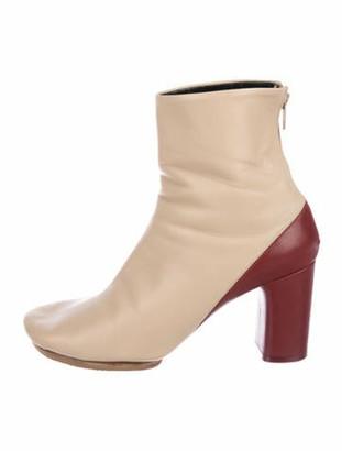 Celine Bicolor Leather Boots Tan