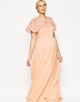 Asos Maxi Dress With Embellishment And Flutter Sleeve