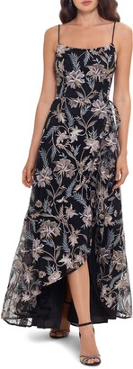 Xscape Evenings Floral Embroidered High/Low Gown