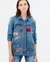 Only Eva Badge Oversized Denim Jacket