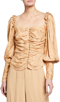 Mother of Pearl Printed Puff Sleeve Ruched Top