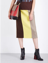 Marni Colourblock wool-blend midi skirt