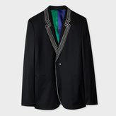 Paul Smith Men's Slim-Fit Black Wool Blazer With White Piping Detail
