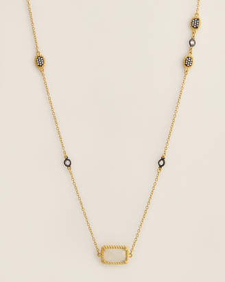 Freida Rothman Gold-Tone Gilded Cable Stone & Pave Long Station Necklace