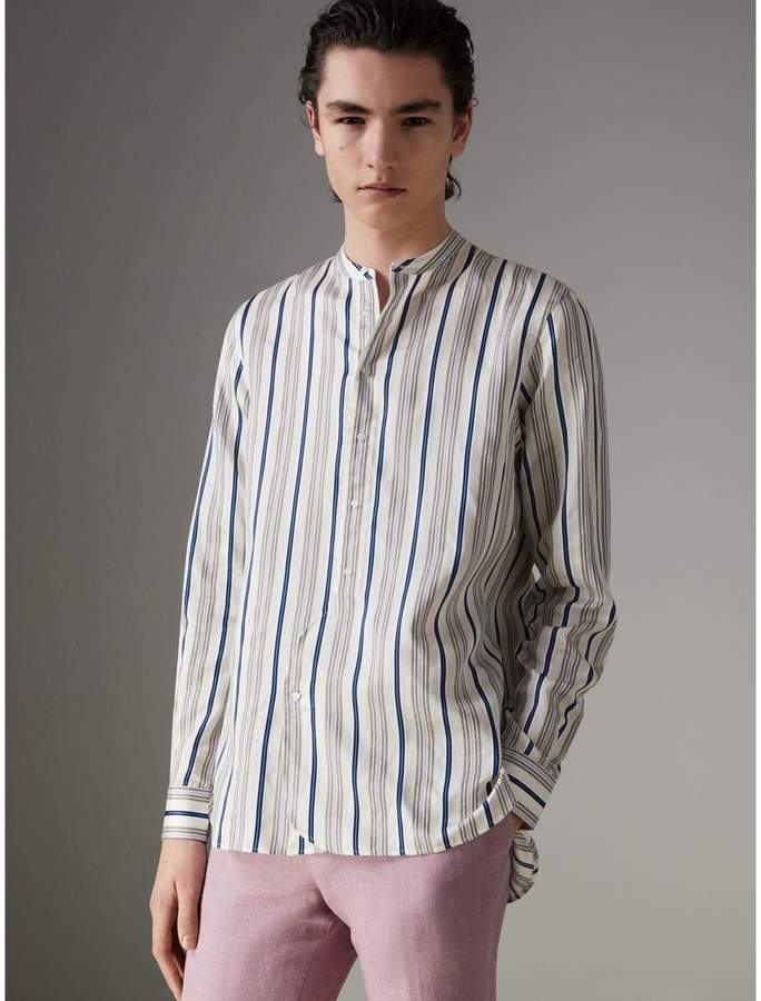 Burberry Grandad Collar Striped Silk Shirt