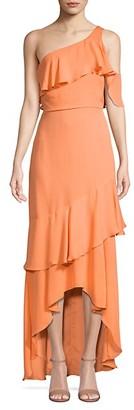Parker Black One-Shoulder Silk Maxi Dress
