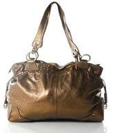 Perlina Bronze Metallic Leather Drawstring Double Strap Tote Handbag