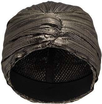 Saint Laurent Metallic-Effect Turban Hat