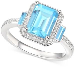 Macy's Blue Topaz (2-3/4 ct. t.w.) & Diamond (1/6 ct. t.w.) Ring in Sterling Silver