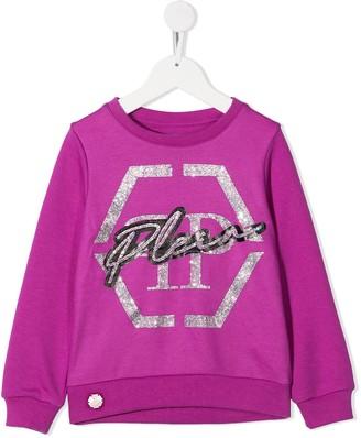 Philipp Plein Junior Logo Embellished Sweatshirt