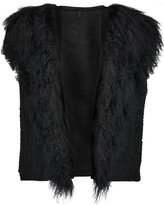 Helmut Lang Shearling and jacquard-knit vest