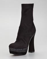 Miu Miu Suede Mid-Calf Glitter Boot