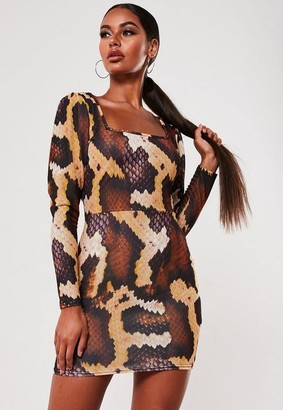 Missguided Brown Snake Print Puff Sleeve Square Neck Mini Dress