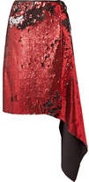 Marques Almeida Marques' Almeida Asymmetric Sequinned Tulle Wrap Skirt - Red