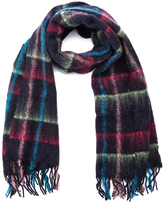 Paul Smith Women's Mohair Check Scarf Navy