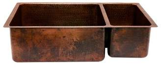 """Premier Copper Products Hammered 33"""" L x 19"""" W Double Basin Kitchen Sink Premier Copper Products"""