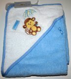 Luvable Friends Hooded Bath Towel Blue/White with Monkey by