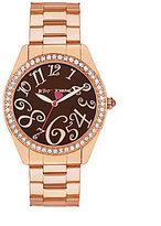 Betsey Johnson Boxed Brown Dial Crystal Bezel Rose Gold Bracelet Watch