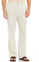 Caribbean Big & Tall Linen Flat-Front Pants