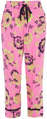 McQ Cropped Floral-print Crepe Straight-leg Pants