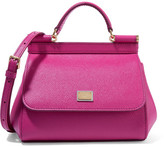Dolce & Gabbana Sicily Mini Textured-leather Shoulder Bag - Fuchsia