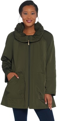 Martha Stewart Water Resistant Coat with Pleated Hood Collar