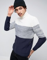 Pull&Bear Roll Neck Sweater In Navy With Color Block Detail