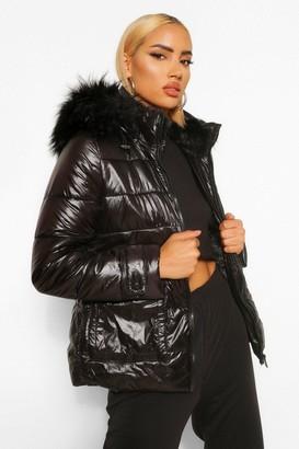 boohoo Faux Fur Lined High Shine Puffer