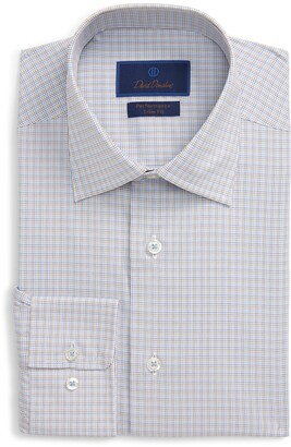 David Donahue Trim Fit Performance Stretch Plaid Dress Shirt