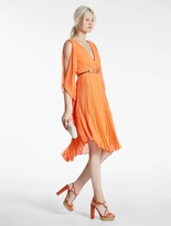 Halston Pleated Georgette Dress