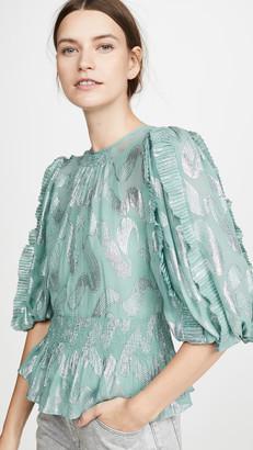 Rebecca Taylor Short Sleeve Lurex Jacquard Top