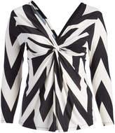 Glam Black & White Chevron Front-Knot Surplice Top - Plus