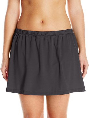 Maxine Of Hollywood Women's Plus-Size Solid Tricot Skirted Pant Bikini Bottom