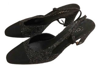 Chanel Slingback Black Tweed Heels