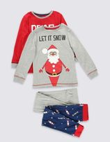 Marks and Spencer 2 Pack Long Sleeve Santa Pyjamas (1-8 Years)